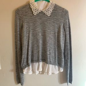 H&M grey sweater with white eyelet collar